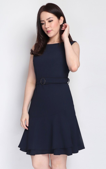Tiered Ruffle Hem Dress - Midnight Blue