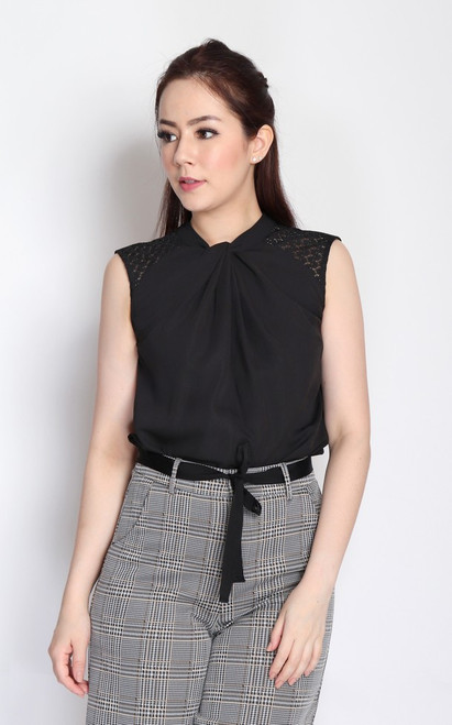 Twist Neck Top - Black