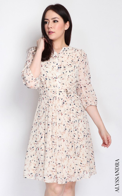 Floral Pleated Chiffon Dress - Cream