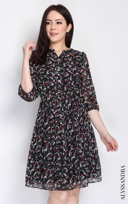 Floral Pleated Chiffon Dress - Black
