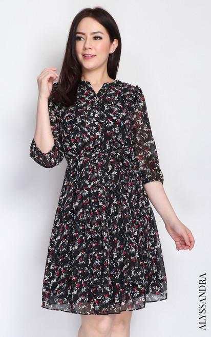 Floral Pleated Chiffon Dress - Black