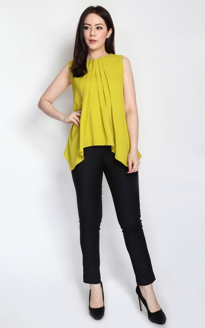 Pleated Trapeze Top - Chartreuse