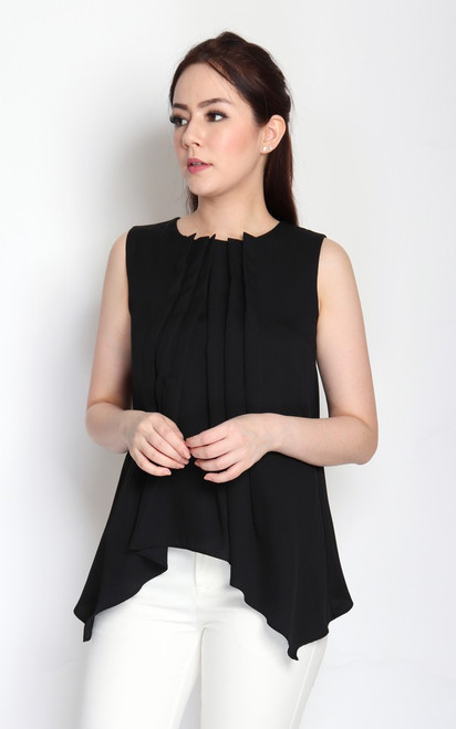 Pleated Trapeze Top - Black