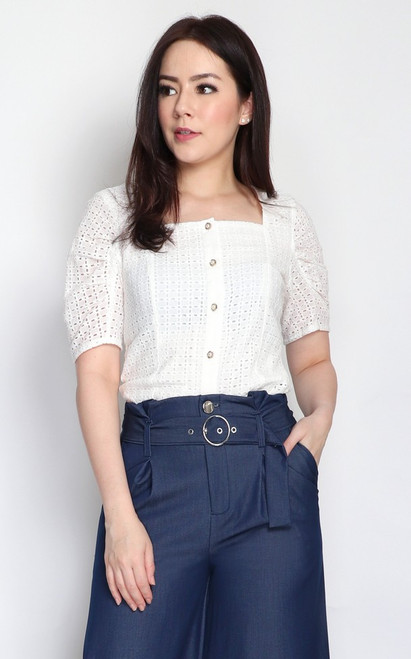 Eyelet Button Up Top - White