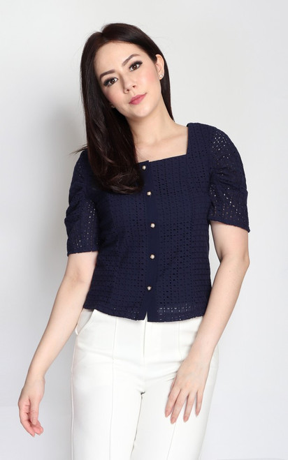Eyelet Button Up Top - Navy