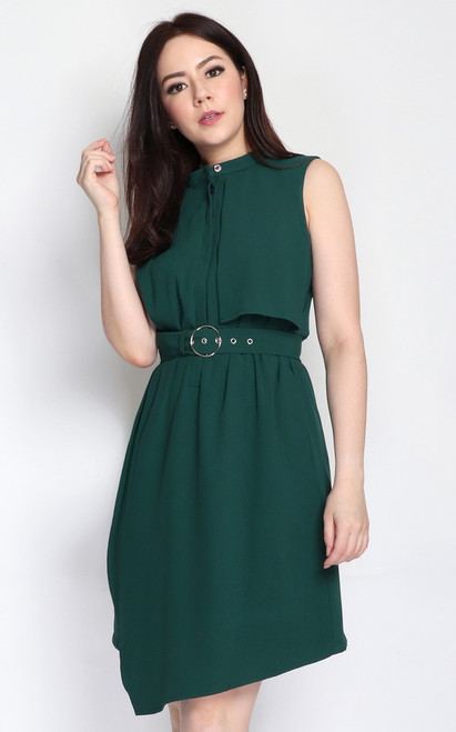 Layered Trench Dress - Forest Green