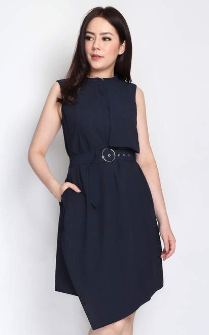 Layered Trench Dress - Midnight Blue