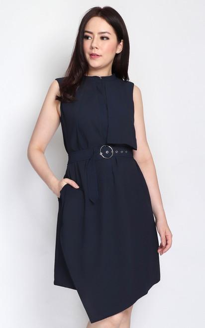 Layered Trench Dress - Midnight Blue