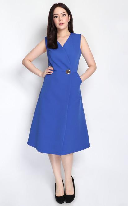 Wrap Front Dress - Blue