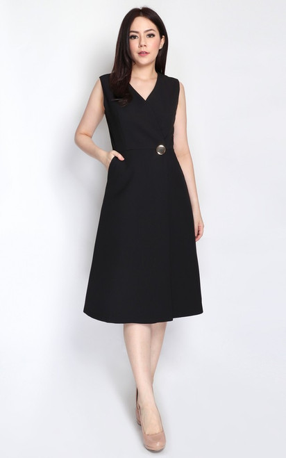 Wrap Front Dress - Black