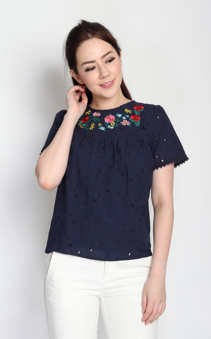Embroidered Broderie Anglaise Top - Navy