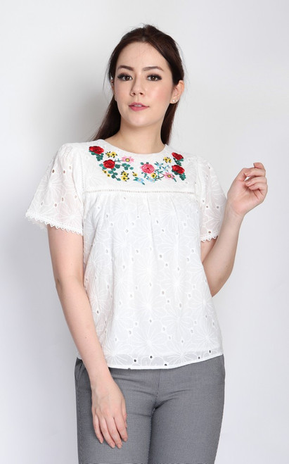 Embroidered Broderie Anglaise Top - White