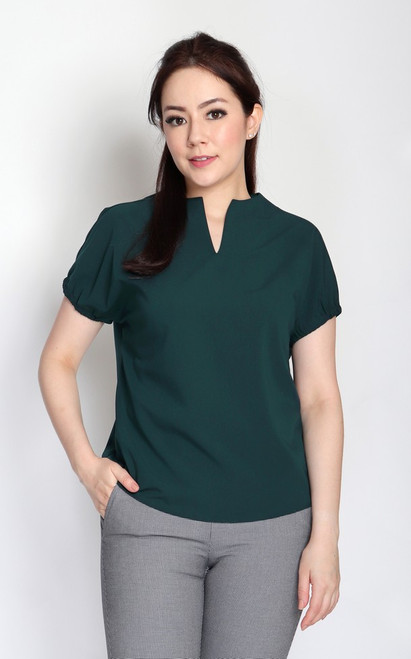 Notch Neck Top - Forest Green