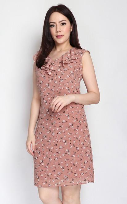 V-Neck Ruffle Dress - Dusty Peach