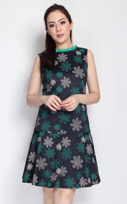 Floral Motif Drop Waist Dress