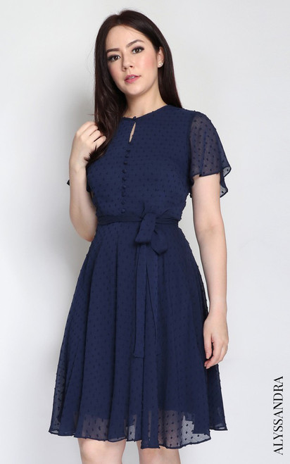 Dobby Dot Chiffon Dress - Navy