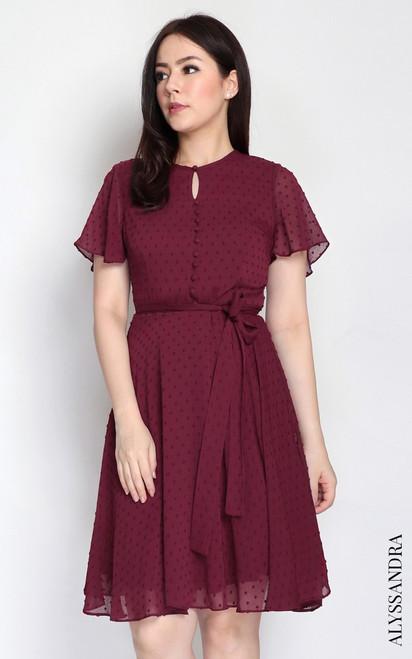 Dobby Dot Chiffon Dress - Burgundy