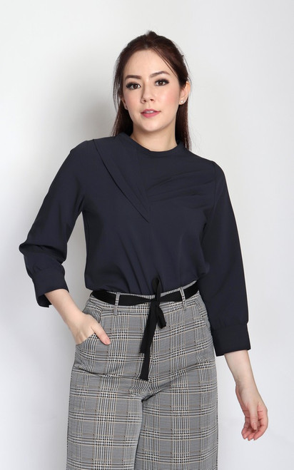 Origami Pleats Top - Midnight Blue