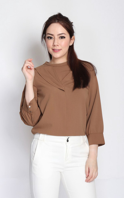 Origami Pleats Top - Toffee