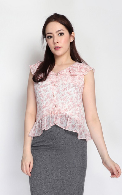 Floral Ruffled Top - Pink