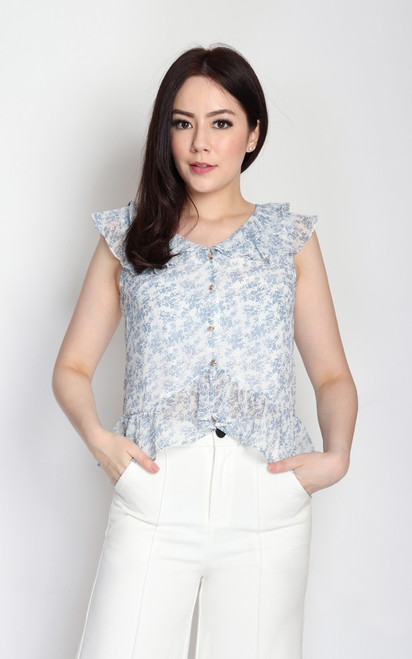 Floral Ruffled Top - Blue