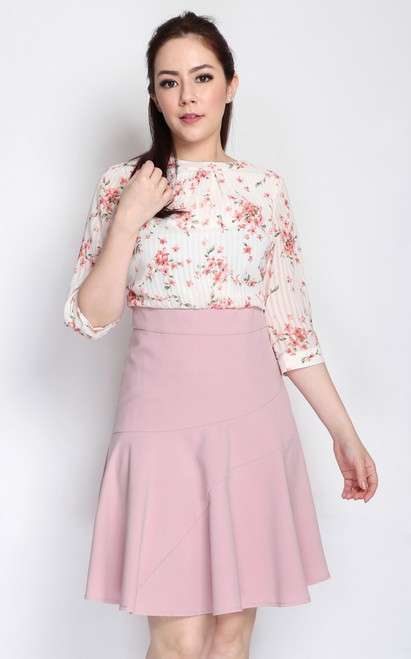 Sleeved Floral Top Dress