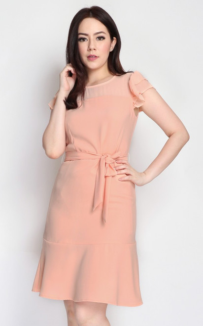 Ruffled Sleeves Dress - Peach