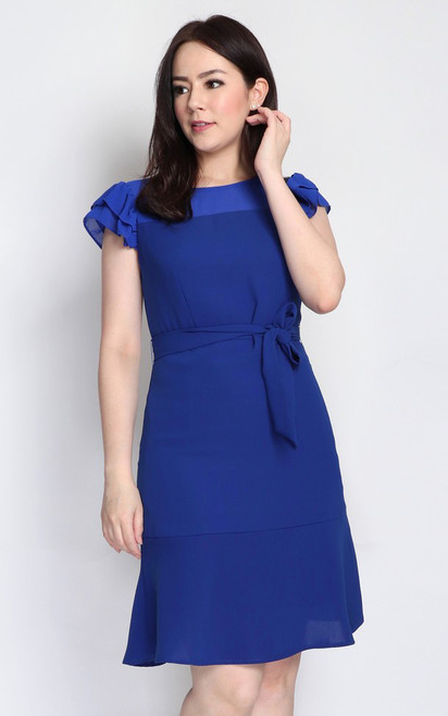 Ruffled Sleeves Dress - Cobalt Blue