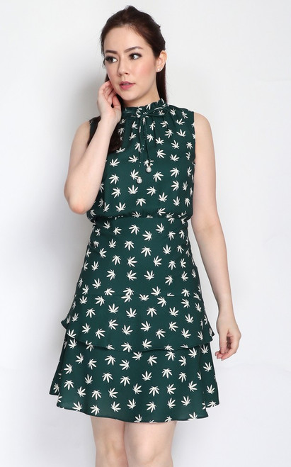 Leaf Print Tiered Hem Dress - Forest Green