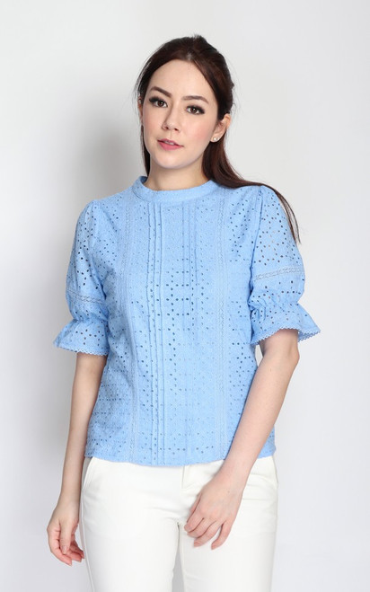 Eyelet Puff Sleeves Blouse - Baby Blue