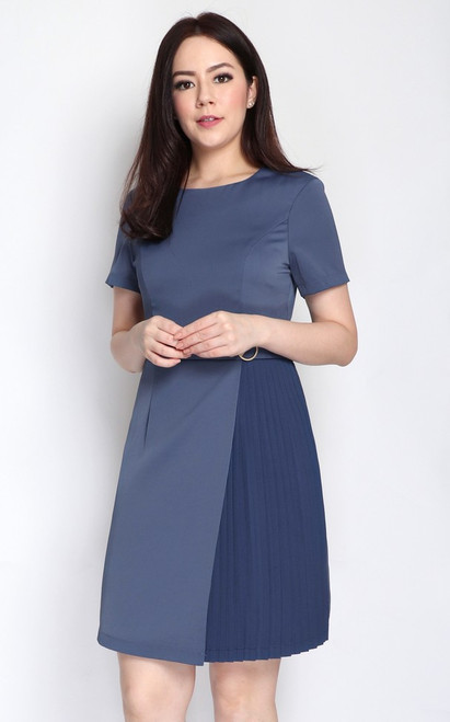 Side Pleats Dress - Steel Blue