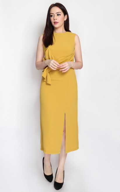 Twist Drape Midi Dress - Marigold
