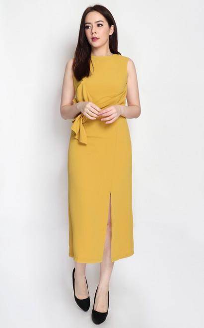 Twist Drape Midi Dress - Marigold