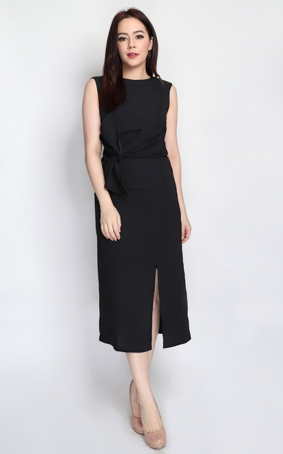 Twist Drape Midi Dress - Black