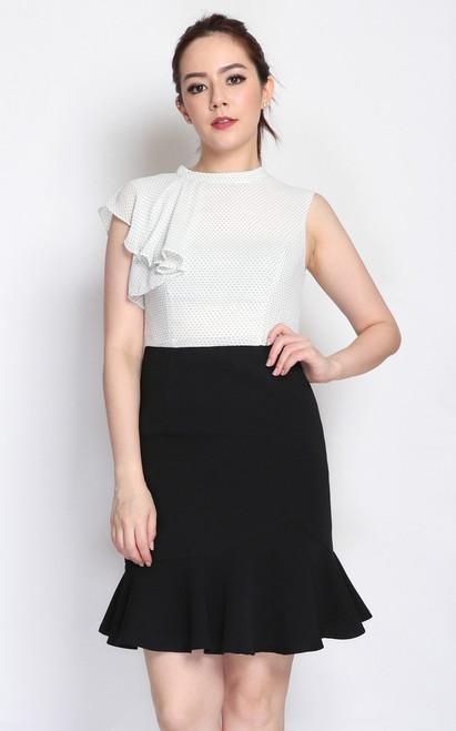 Frill Top Mermaid Hem Dress - White