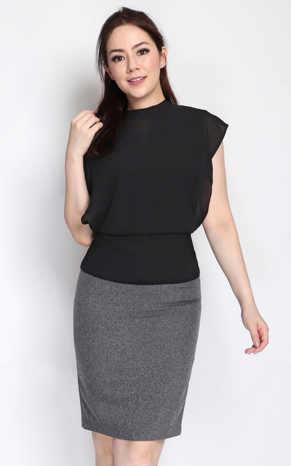 Chiffon Blouson Top - Black