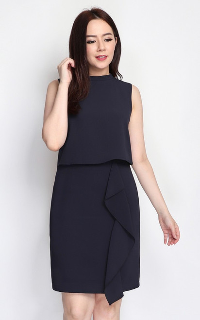 Waterfall Dual Layer Dress - Midnight Blue