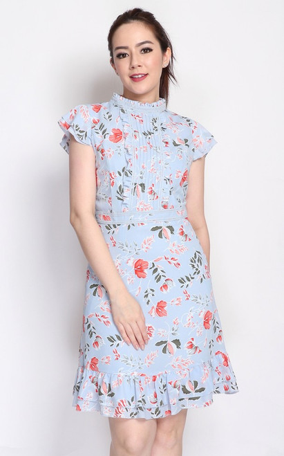 Floral Ruffled Dress - Baby Blue