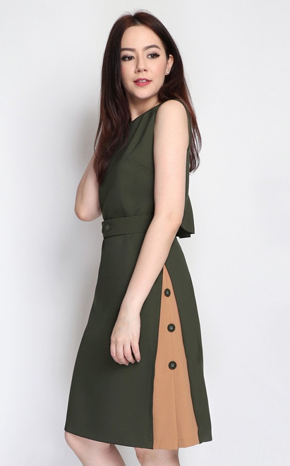 Contrast Panel Shift Dress - Olive