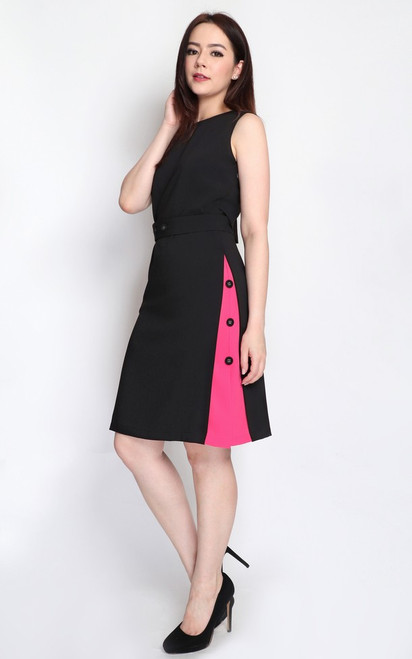 Contrast Panel Shift Dress - Black