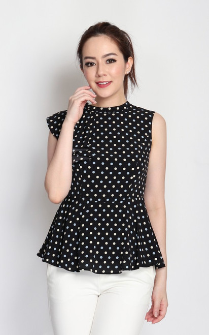 Polka Dot Frill Top - Black
