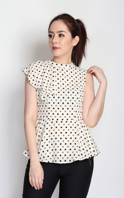Polka Dot Frill Top - Cream
