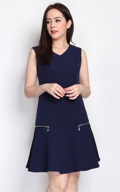 Zipper Drop Waist Dress - Navy