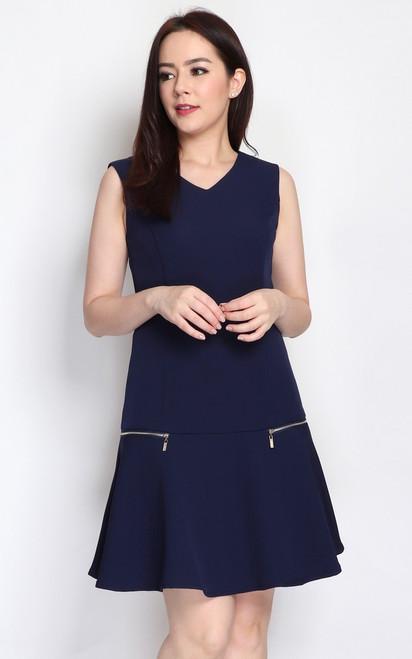 Zipper Drop Waist Dress - Navy