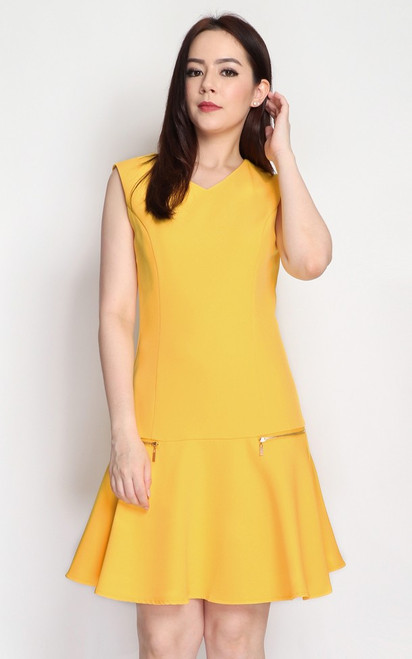 Zipper Drop Waist Dress - Marigold