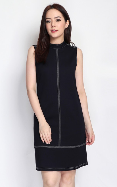 Contrast Stitch Buttons Dress - Midnight Blue