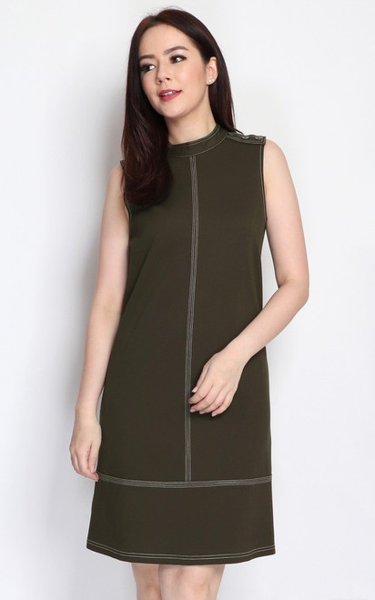 Contrast Stitch Buttons Dress - Olive