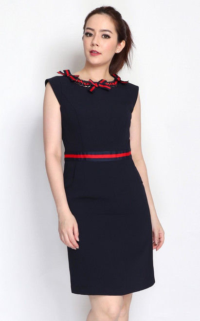 Ribbon Chain Trim Dress