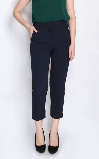 Belted Peg Trousers - Midnight Blue