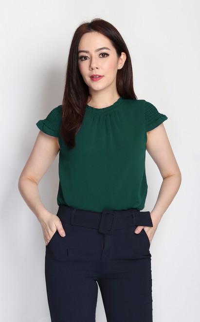 Smocked Sleeves Top - Green